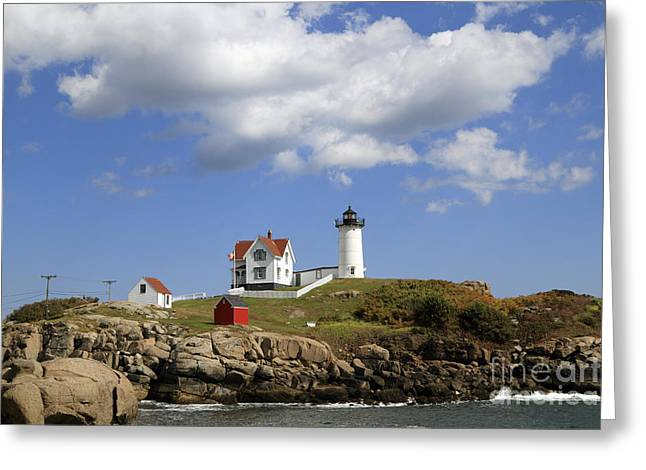 Cape Neddick Greeting Cards - Cape Neddick Lighthouse 4 Greeting Card by John Van Decker