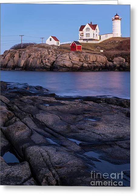 Cape Neddick Lighthouse Along Maine's Rocky Shores York Beach Maine  Greeting Card by Dawna  Moore Photography