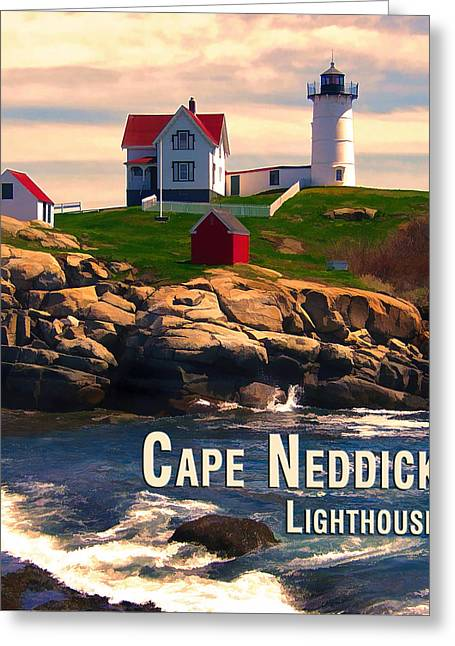 Cape Neddick Lighthouse Paintings Greeting Cards - Cape Neddick Lighthouse  at Sunset  Greeting Card by Elaine Plesser