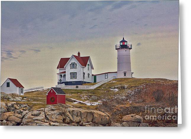 Cape Neddick Greeting Cards - Cape Neddick Lighthouse Greeting Card by Kelly Carey