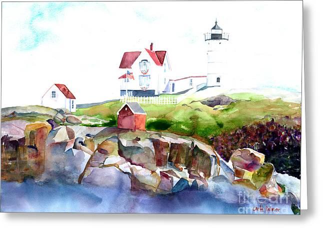 Cape Neddick Lighthouse Paintings Greeting Cards - Cape Neddick Lighthouse ME Greeting Card by Carla Palmer