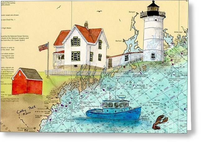 Cape Neddick Lighthouse Paintings Greeting Cards - Cape Neddick Lighthouse ME Nautical Chart Map Art Cathy Peek Greeting Card by Cathy Peek
