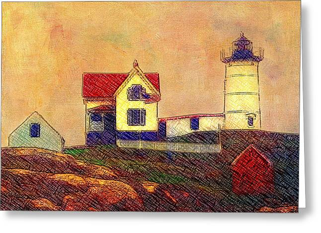 Cape Neddick Greeting Cards - Cape Neddick Lighthouse Greeting Card by Melinda Dreyer