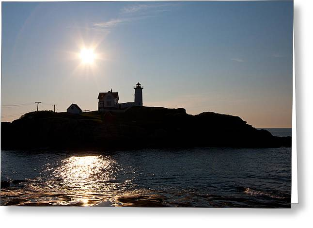 Cape Neddick Lighthouse Greeting Cards - Cape Neddick lighthouse Greeting Card by Oscar Dean