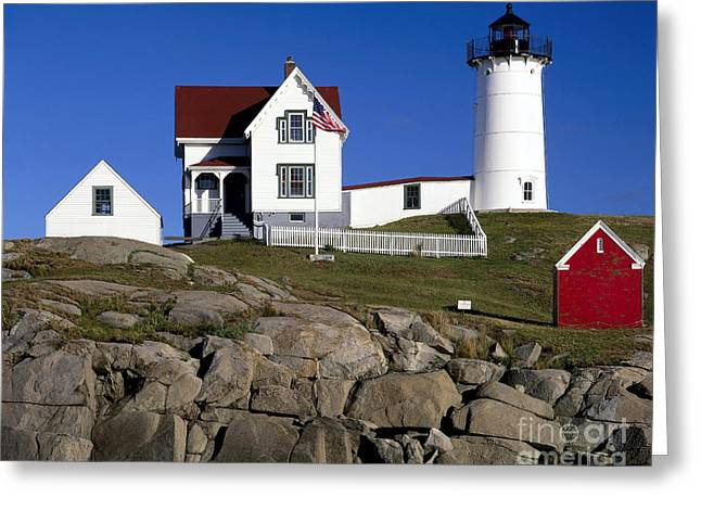 Cape Neddick Lighthouse Greeting Cards - Cape Neddick Lighthouse Greeting Card by Rafael Macia