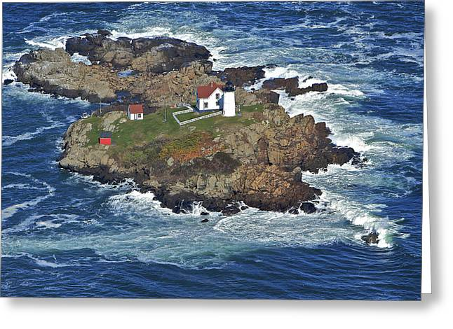 Towering Sea Cliffs Greeting Cards - Cape Neddick Lighthouse, York Greeting Card by Dave Cleaveland