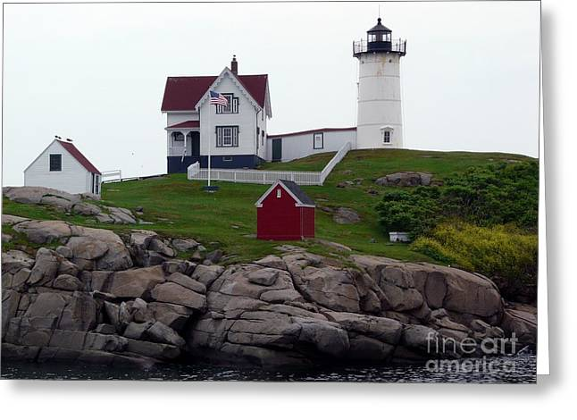 Cape Neddick Lighthouse Greeting Cards - Cape Neddick Nubble Lighthouse Greeting Card by Christine Stack