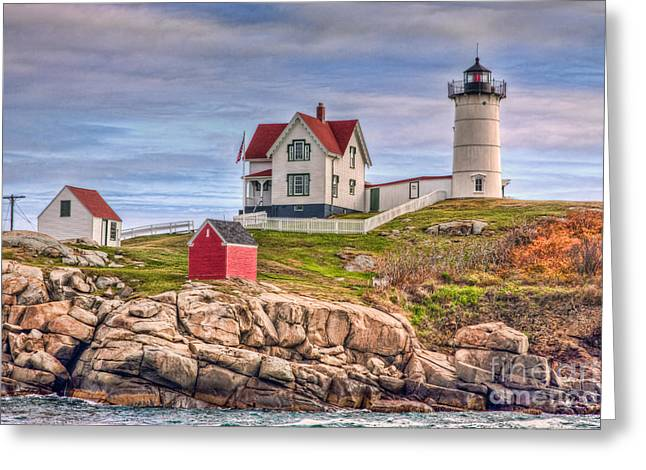 Cape Neddick Lighthouse Greeting Cards - Cape Neddick Nubble Lighthouse II Greeting Card by Clarence Holmes