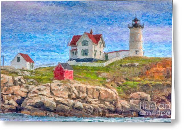 Cape Neddick Greeting Cards - Cape Neddick Nubble Lighthouse Impasto Greeting Card by Clarence Holmes