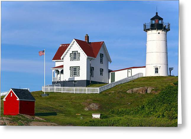 Cape Neddick Lighthouse Greeting Cards - Cape Neddick Nubble Lighthouse Greeting Card by Samuel Abrahamson