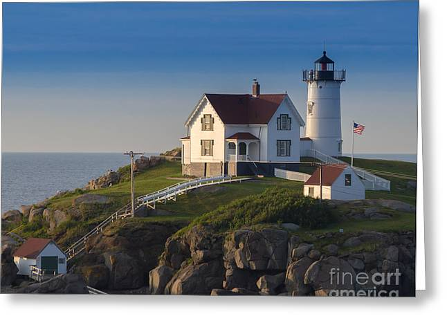 Sohier Park Greeting Cards - Cape Neddick Nubble Lighthouse York Maine Greeting Card by Bridget Calip
