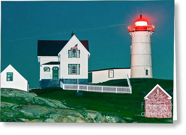 Cape Neddick Greeting Cards - Cape Neddick or Nubble Lighthouse Greeting Card by Terri Morris