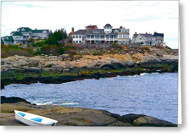 Cape Neddick Greeting Cards - Cape Neddick Shoreline Greeting Card by Denise Mazzocco