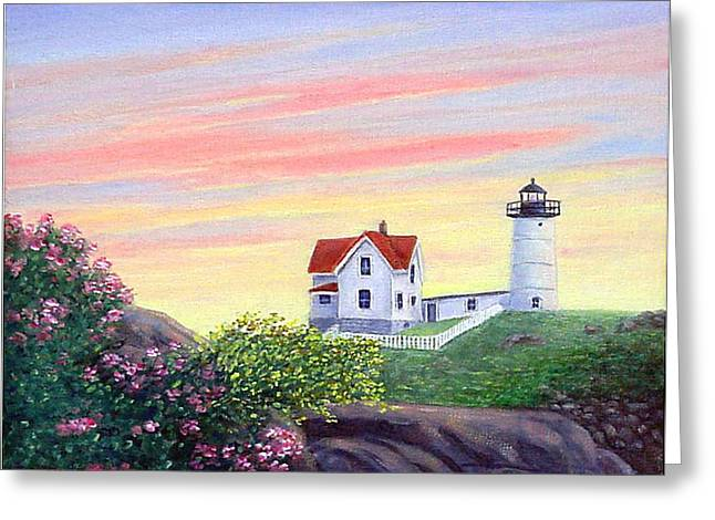 Cape Neddick Greeting Cards - Cape Neddick Sunrise Greeting Card by Fran Brooks