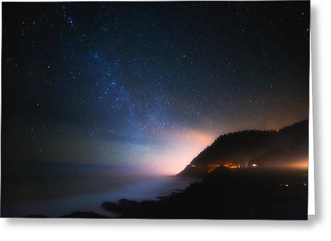 Pacific Ocean Prints Greeting Cards - Cape Perpetua Celestial Skies Greeting Card by Darren  White