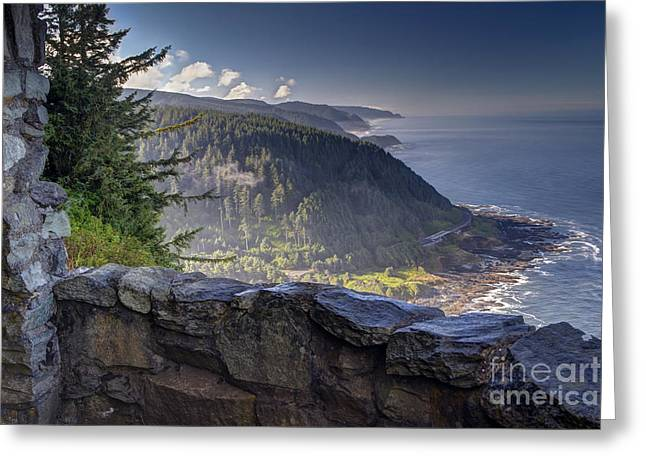 Lookout Greeting Cards - Cape Perpetua Lookout Greeting Card by Mark Kiver