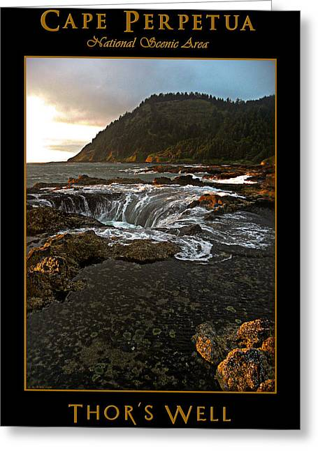 Thor Greeting Cards - Cape Perpetua Oregon Coast - Thors Well Natural Sea Cave  Greeting Card by David Rigg