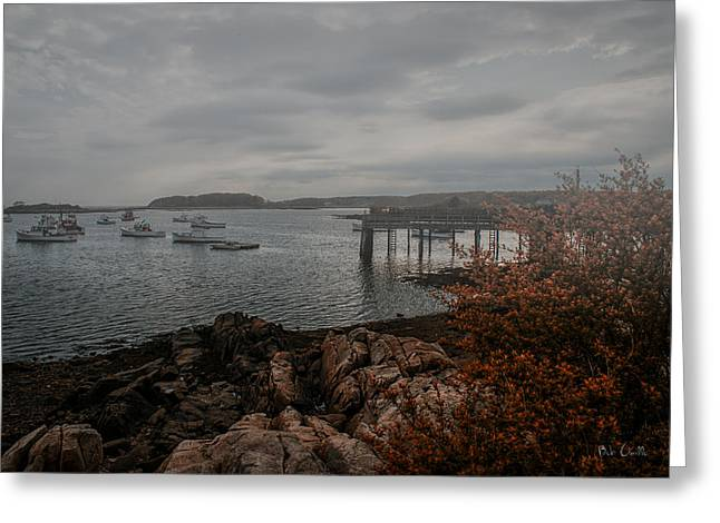Cape Porpoise Fog Rolls In Greeting Card by Bob Orsillo