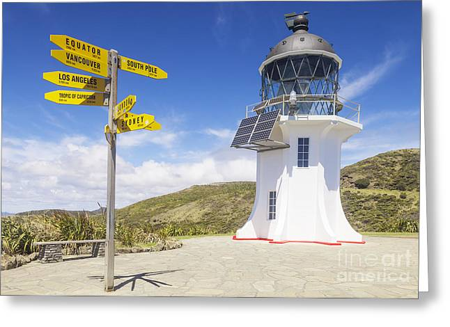 Signpost Greeting Cards - Cape Reinga Lighthouse Greeting Card by Colin and Linda McKie