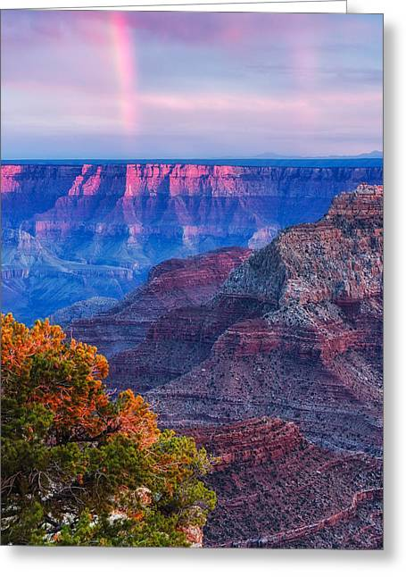 San Francisco Peaks Greeting Cards - Cape Royal Rainbow over the South Rim - Grand Canyon National Park Arizona Greeting Card by Silvio Ligutti