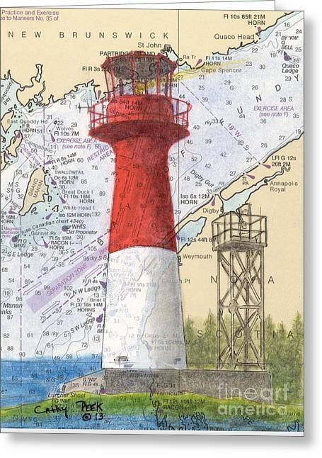 Nautical Chart Greeting Cards - Cape Spencer Lighthouse NB Canada Nautical Chart Map Art Greeting Card by Cathy Peek