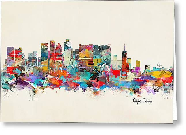 Cape Town Digital Art Greeting Cards - Cape Town South Africa skyline Greeting Card by Bri Buckley