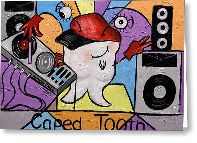 Caped Tooth Greeting Card by Anthony Falbo