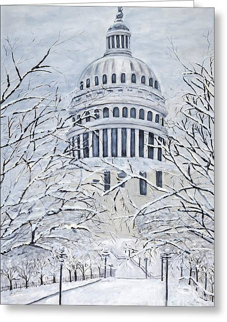 Charlotte Greeting Cards - Capital Blizzard 2010 by Charlotte Levitan Greeting Card by Sheldon Kralstein