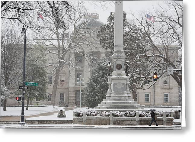 Confederate Monument Greeting Cards - Capital Building in the snow Greeting Card by Dennis Ludlow