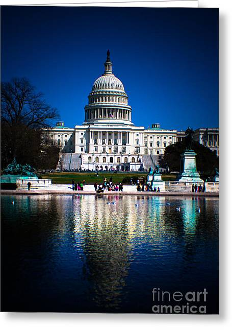 Us Capital Greeting Cards - Capital in Reflection Greeting Card by Ken Marsh
