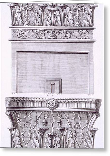 Classical Column Greeting Cards - Capitals from the temple near the Roman Baths Greeting Card by French School