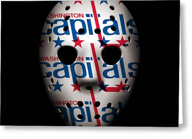 Ice-skating Greeting Cards - Capitals Goalie Mask Greeting Card by Joe Hamilton