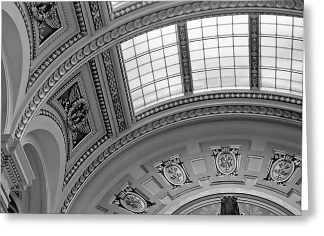 Capitol Architecture - Bw Greeting Card by Jenny Hudson