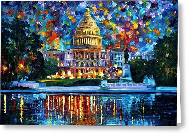 Recently Sold -  - Popular Art Greeting Cards - Capitol At Night Washington - PALETTE KNIFE Oil Painting On Canvas By Leonid Afremov Greeting Card by Leonid Afremov