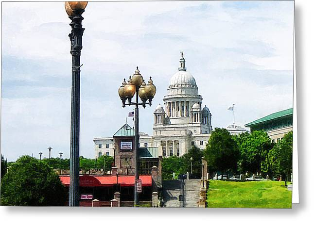 Capitol Building Seen from Waterplace Park Greeting Card by Susan Savad