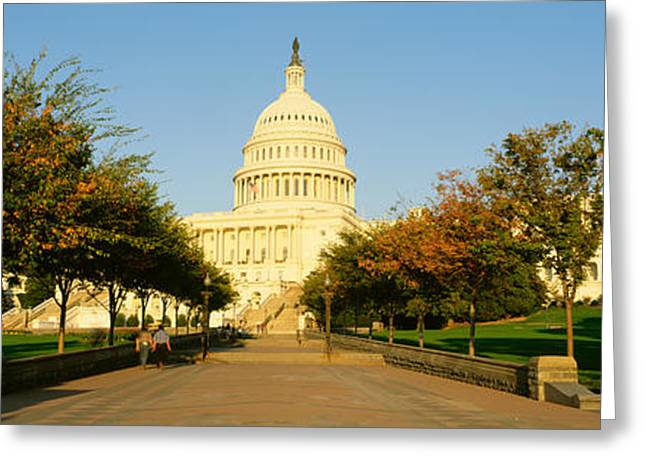 People Walking Greeting Cards - Capitol Building, Washington Dc Greeting Card by Panoramic Images