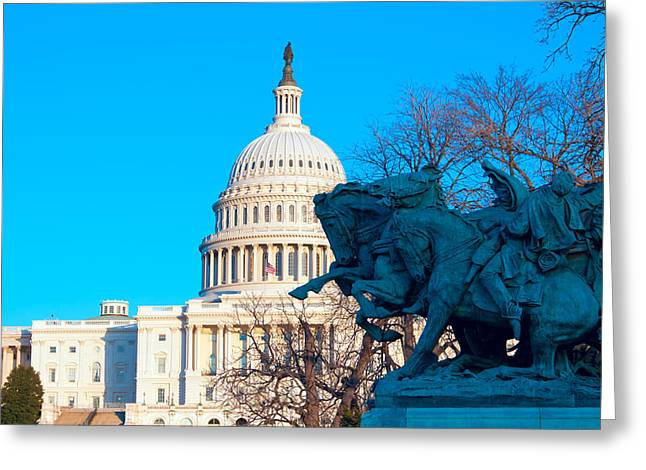 Congressman Greeting Cards - Capitol Building with Grant Memorial Washington DC USA Greeting Card by Rostislav Ageev