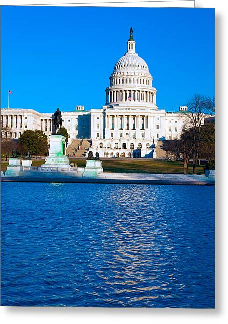Congressman Greeting Cards - Capitol Building with Pond Washington DC USA Greeting Card by Rostislav Ageev