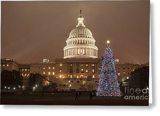 Christmas Eve Greeting Cards - Capitol Christmas Greeting Card by Terry Rowe