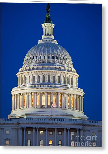 Capitol Hill Greeting Cards - Capitol Dome by Night Greeting Card by Inge Johnsson