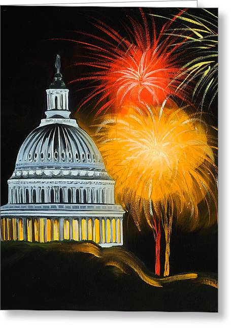 4th July Paintings Greeting Cards - Capitol Fourth of July Greeting Card by Anne Lewis