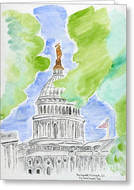 Washington Dc Drawings Greeting Cards - Capitol Hill II Greeting Card by Eva Ason