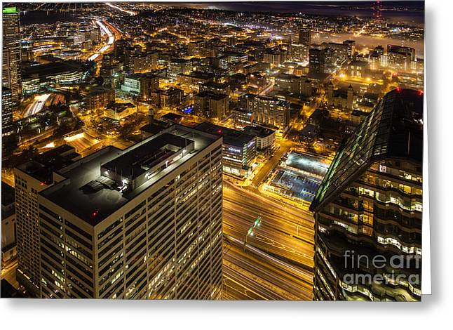 Capitol Hill Night View Greeting Card by Mike Reid