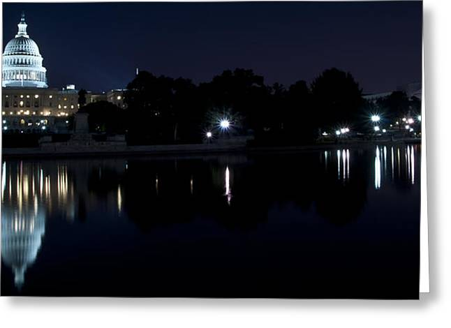 Inauguration Greeting Cards - Capitol in Lights Greeting Card by Deborah Klubertanz