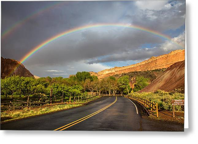 Double Rainbow Greeting Cards - Capitol Reef Rainbow Greeting Card by Pierre Leclerc Photography