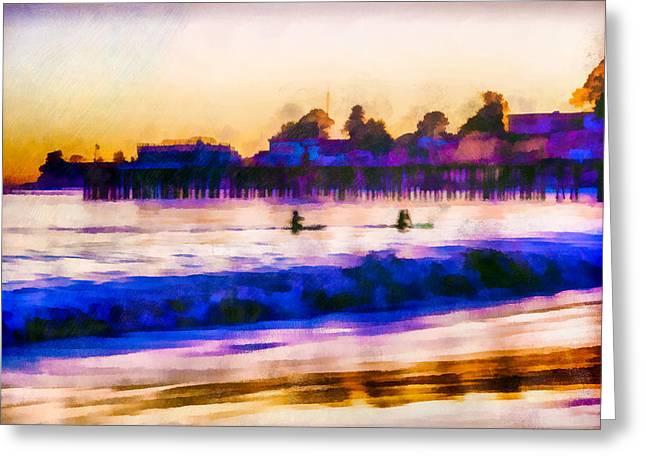 Santa Cruz Wharf Greeting Cards - Capitola - The Return To Shore  Greeting Card by Priya Ghose
