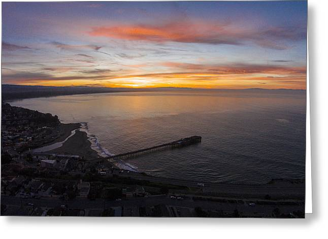 Santa Cruz Pier Greeting Cards - Capitola Wharf Sunrise Greeting Card by David Levy