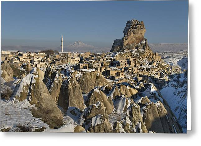 Ortahisar Greeting Cards - Cappadocia in winter Greeting Card by Ayhan Altun