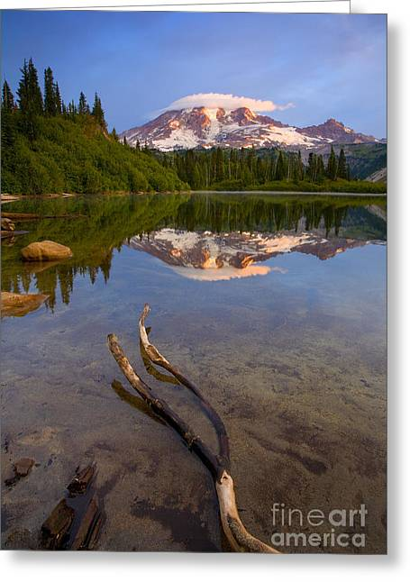 Mt Photographs Greeting Cards - Capped Sunrise Greeting Card by Mike  Dawson