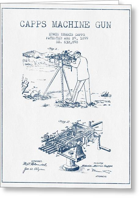 Bass Digital Art Greeting Cards - Capps Machine Gun Patent Drawing from 1899 -  Blue Ink Greeting Card by Aged Pixel